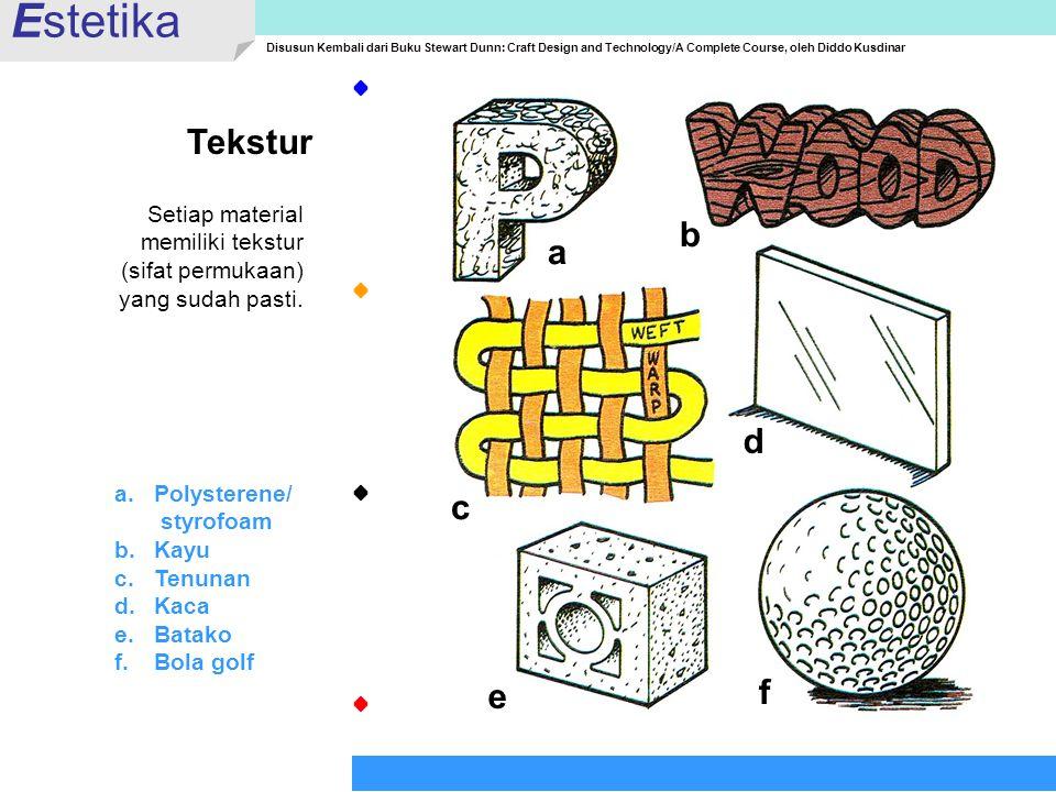 Estetika Tekstur b a d c f e Setiap material memiliki tekstur