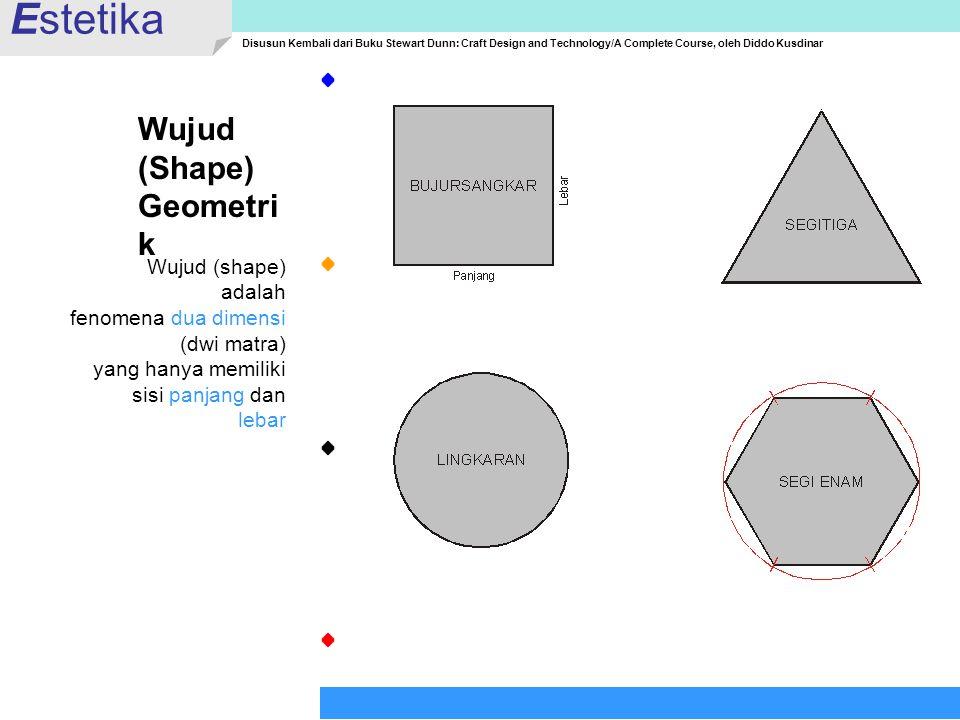 Estetika Wujud (Shape) Geometrik Wujud (shape) adalah