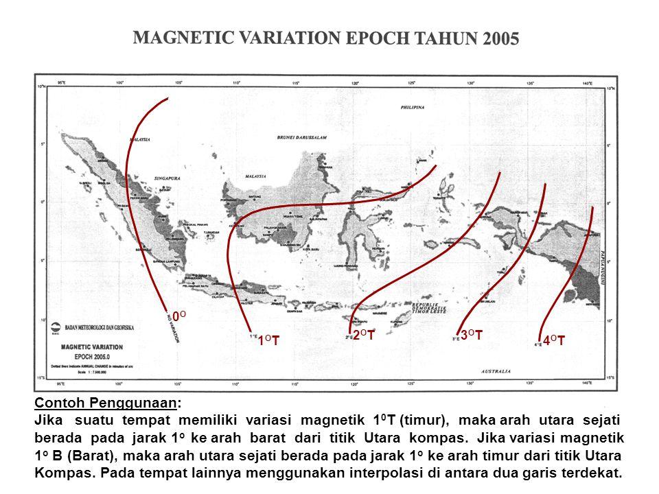 0O 1OT. 2OT. 3OT. 4OT. Contoh Penggunaan: Jika suatu tempat memiliki variasi magnetik 10T (timur), maka arah utara sejati.