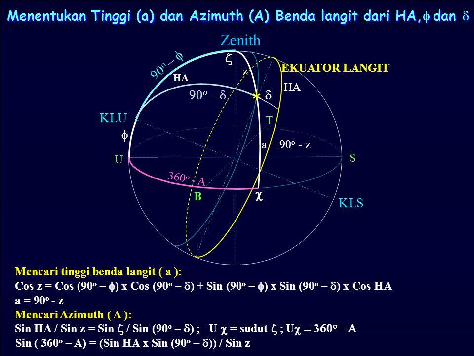 Menentukan Tinggi (a) dan Azimuth (A) Benda langit dari HA,f dan d
