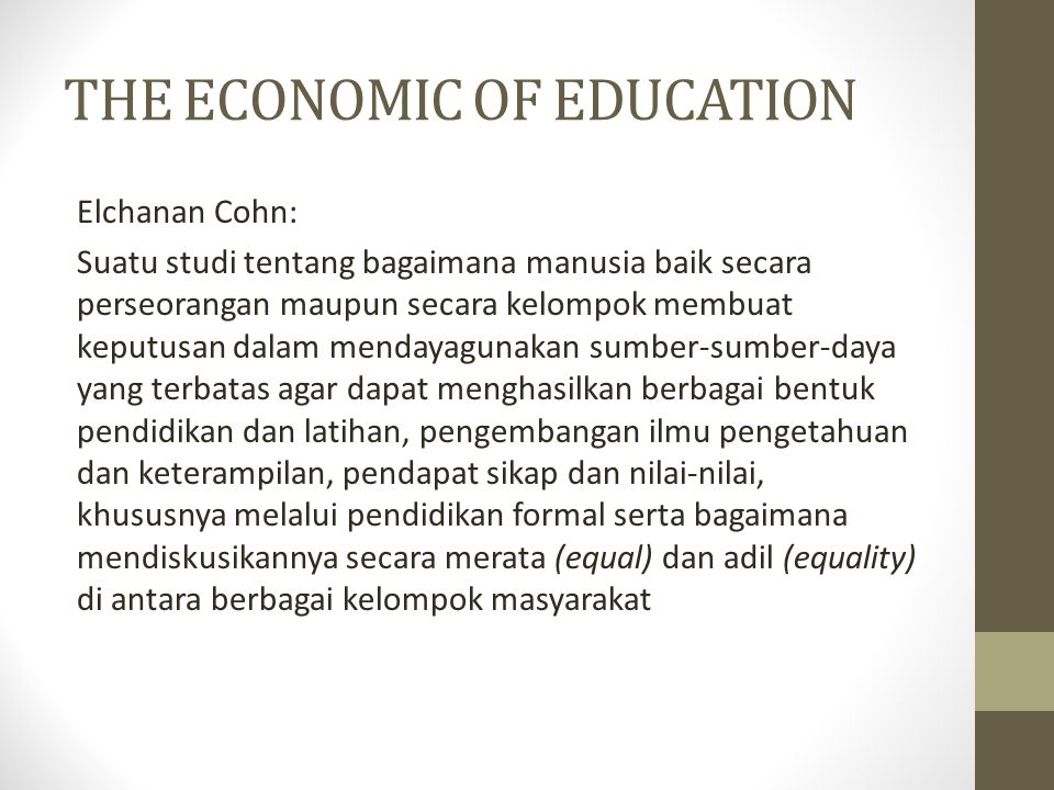 THE ECONOMIC OF EDUCATION