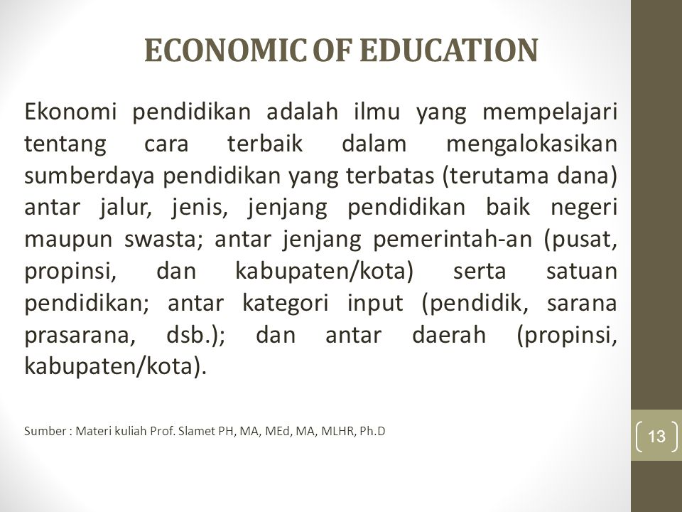 ECONOMIC OF EDUCATION