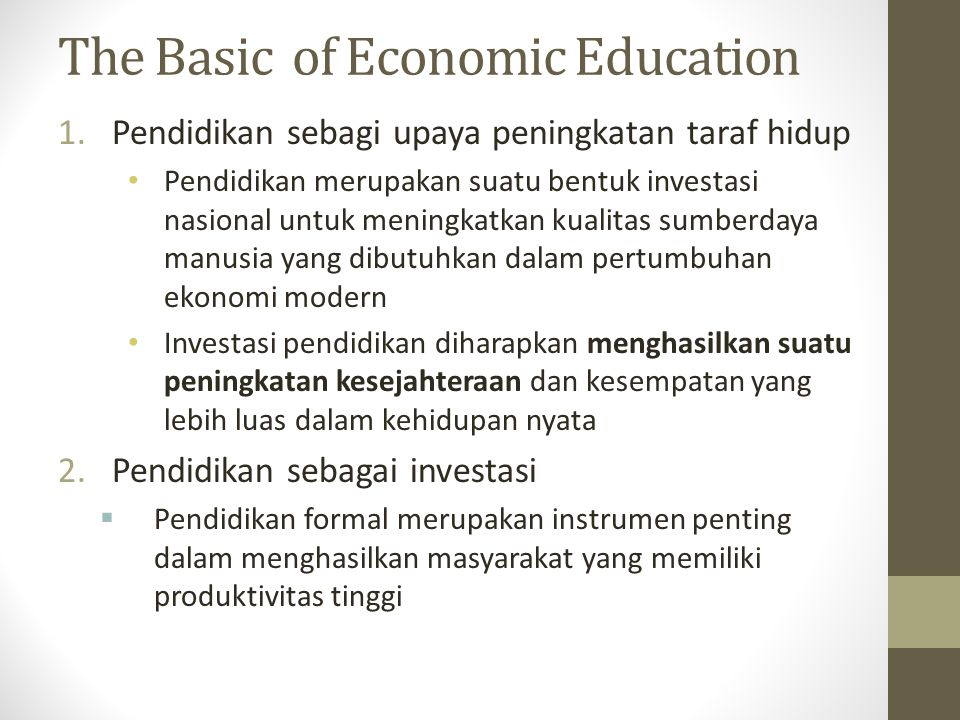 The Basic of Economic Education
