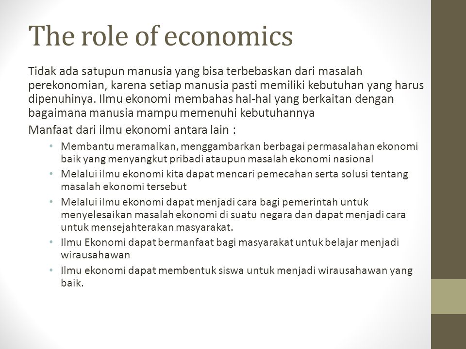The role of economics
