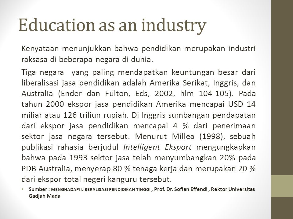 Education as an industry