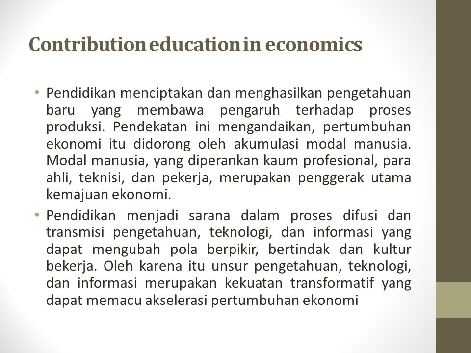 Contribution education in economics