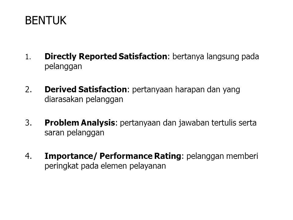 BENTUK 1. Directly Reported Satisfaction: bertanya langsung pada pelanggan.