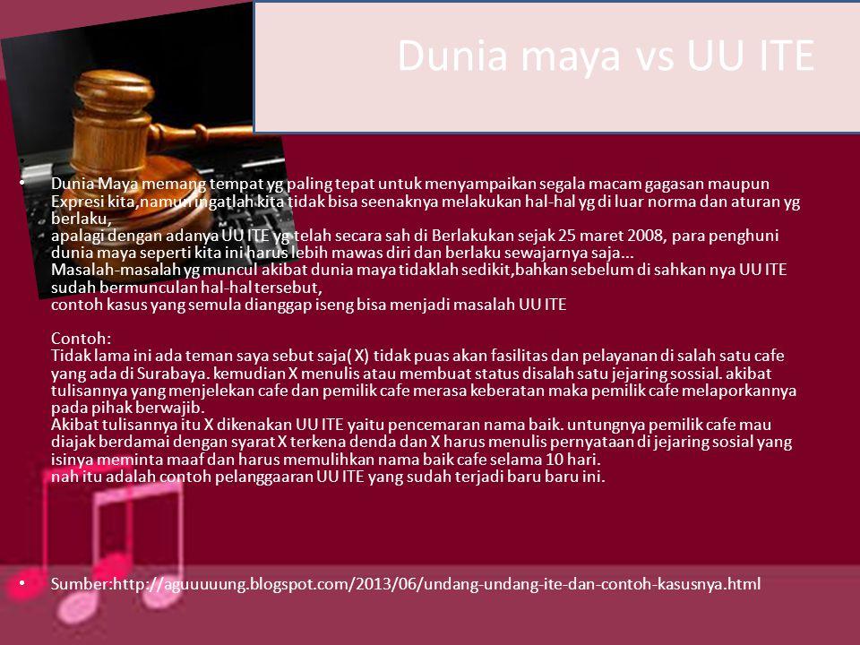 Dunia maya vs UU ITE