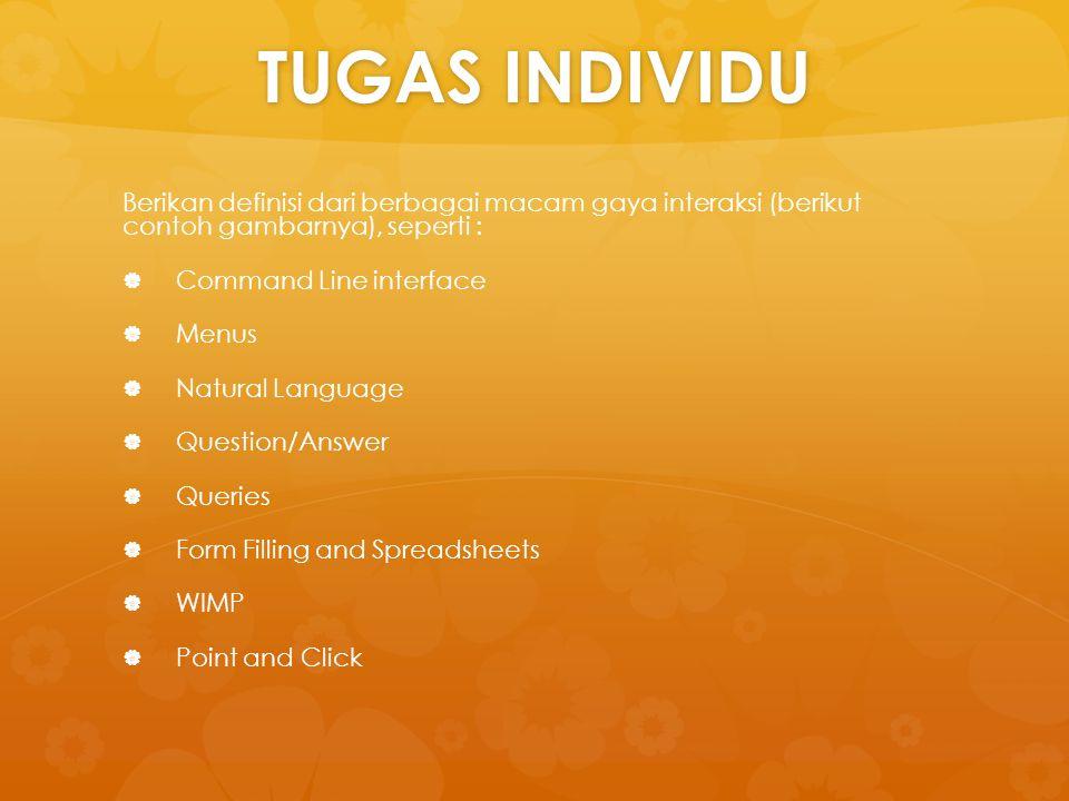 TUGAS INDIVIDU Berikan definisi dari berbagai macam gaya interaksi (berikut contoh gambarnya), seperti :