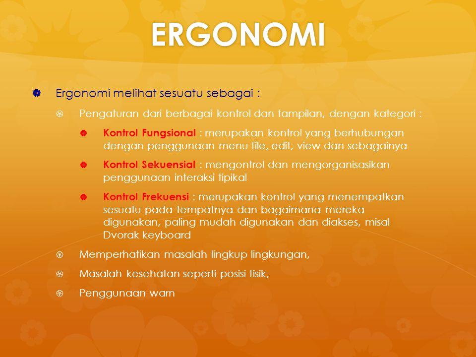 ERGONOMI Ergonomi melihat sesuatu sebagai :