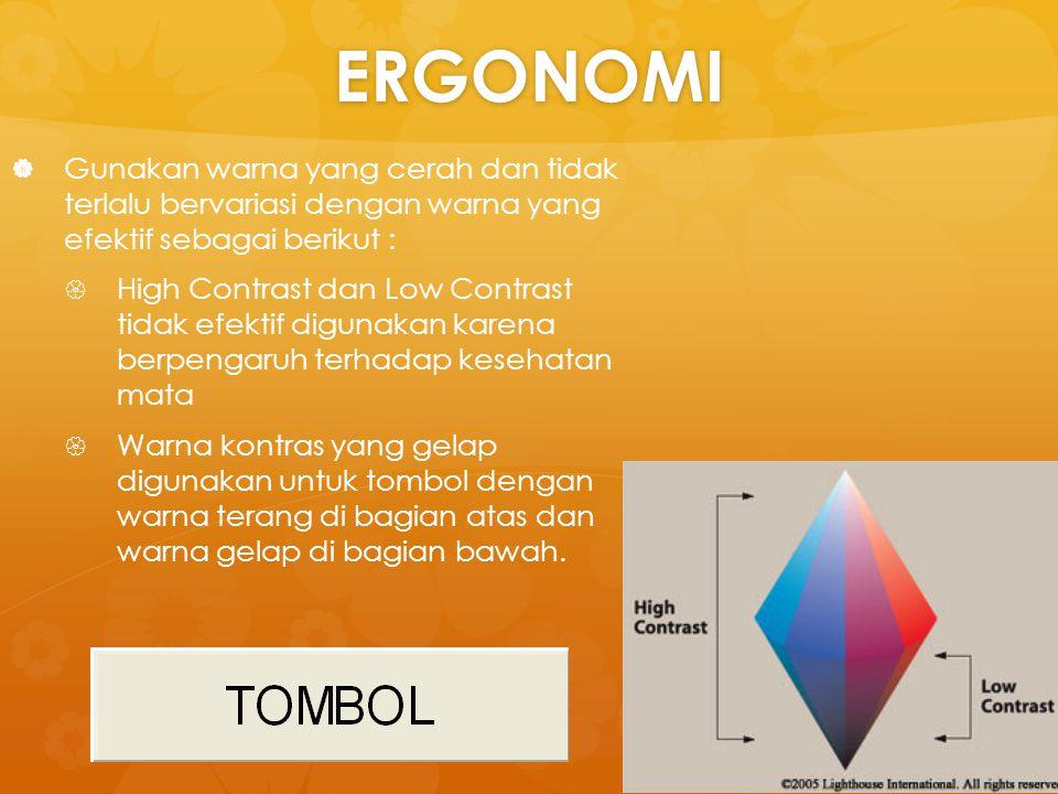 ERGONOMI Gunakan warna yang cerah dan tidak terlalu bervariasi dengan warna yang efektif sebagai berikut :