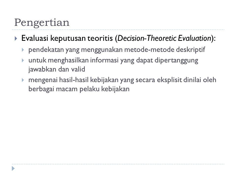 Pengertian Evaluasi keputusan teoritis (Decision-Theoretic Evaluation): pendekatan yang menggunakan metode-metode deskriptif.