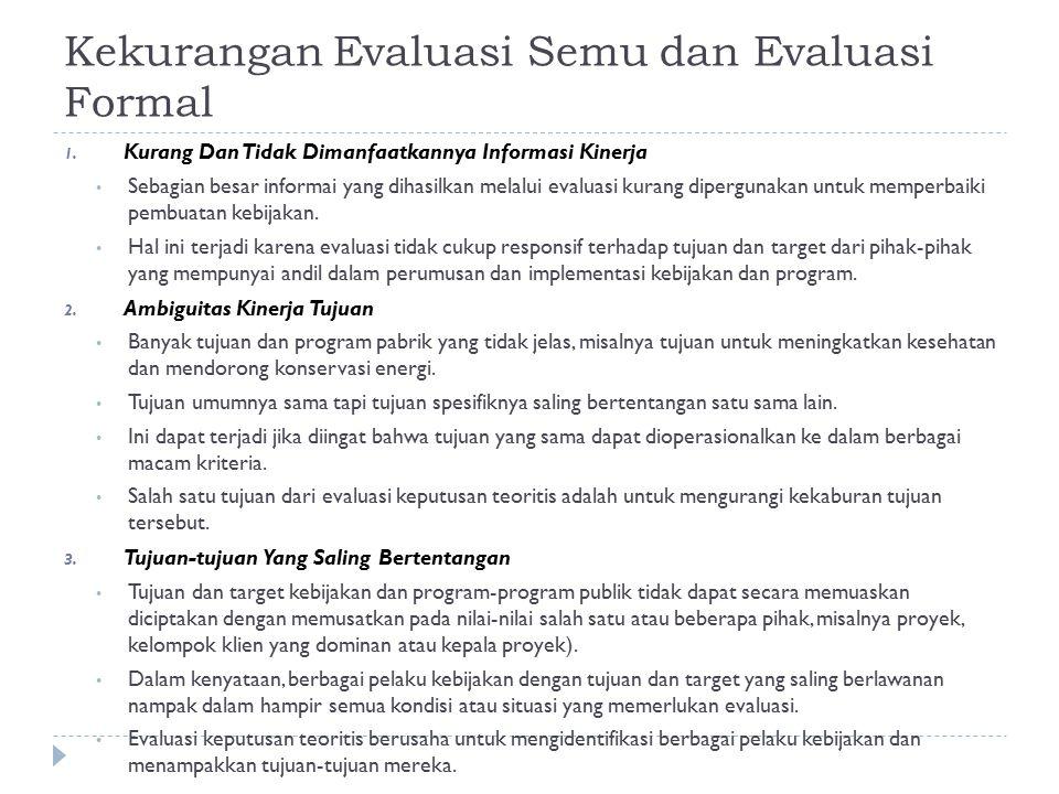 Kekurangan Evaluasi Semu dan Evaluasi Formal