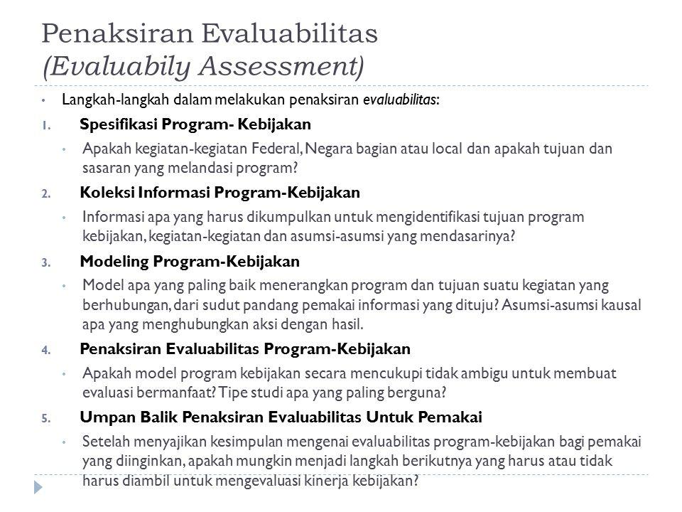 Penaksiran Evaluabilitas (Evaluabily Assessment)