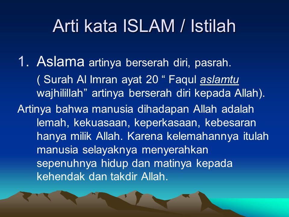 Arti kata ISLAM / Istilah