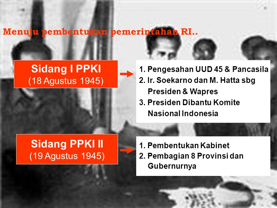 Menuju pembentukan pemerintahan RI..
