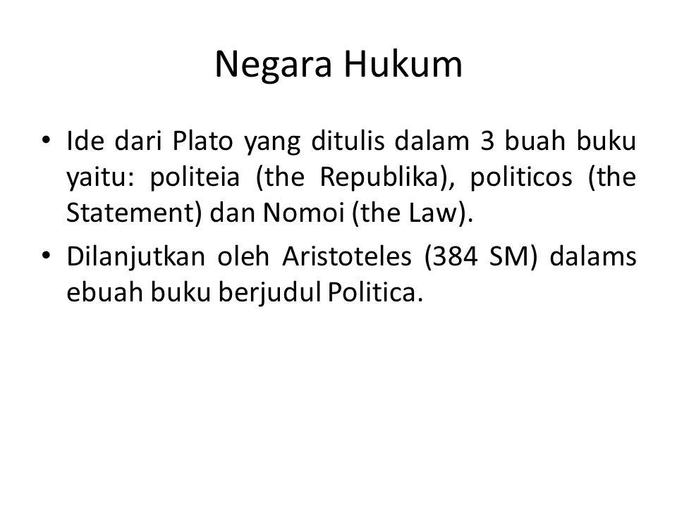 Negara Hukum Ide dari Plato yang ditulis dalam 3 buah buku yaitu: politeia (the Republika), politicos (the Statement) dan Nomoi (the Law).