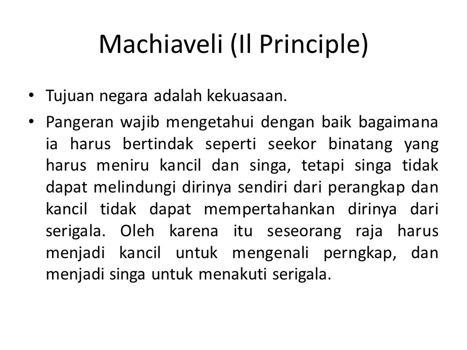 Machiaveli (Il Principle)