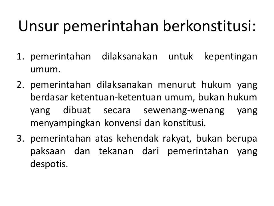 Unsur pemerintahan berkonstitusi: