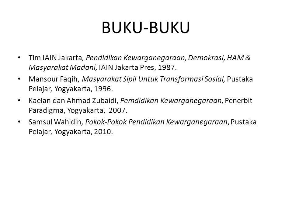 BUKU-BUKU Tim IAIN Jakarta, Pendidikan Kewarganegaraan, Demokrasi, HAM & Masyarakat Madani, IAIN Jakarta Pres, 1987.