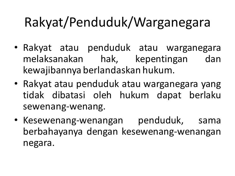Rakyat/Penduduk/Warganegara