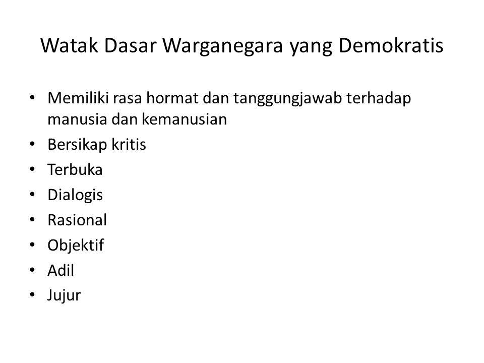 Watak Dasar Warganegara yang Demokratis