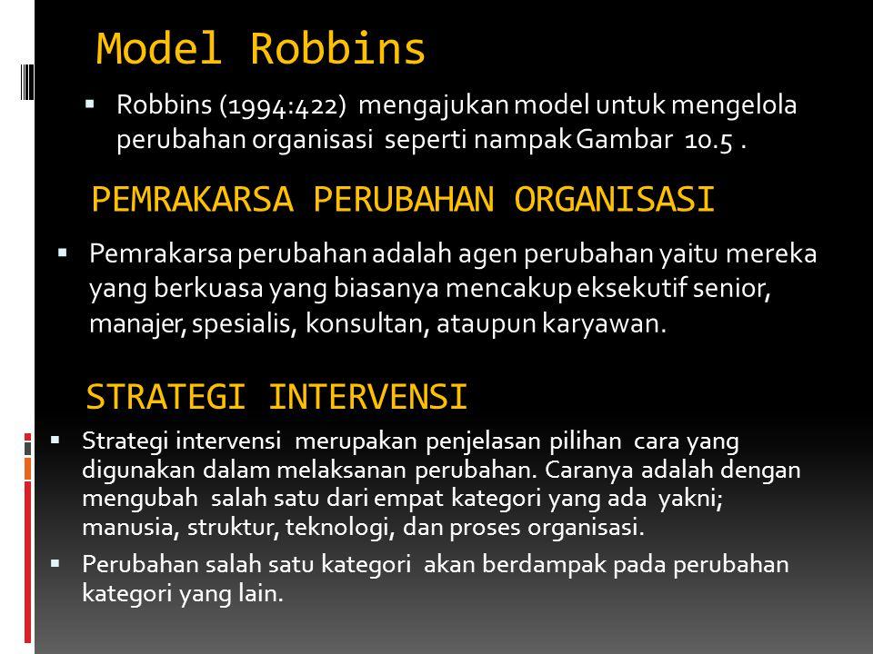 Model Robbins PEMRAKARSA PERUBAHAN ORGANISASI STRATEGI INTERVENSI
