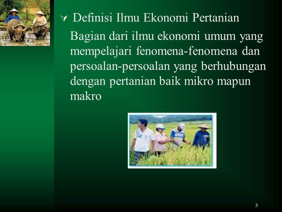 Definisi Ilmu Ekonomi Pertanian