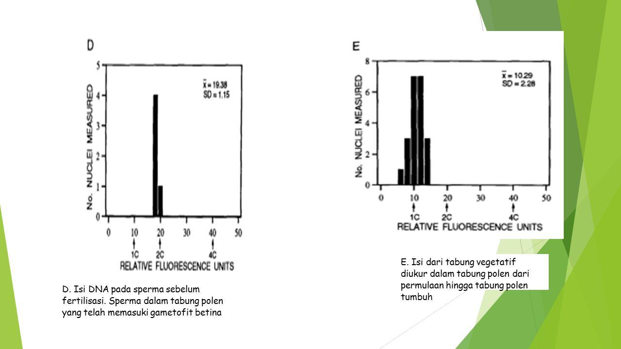 E. Isi dari tabung vegetatif diukur dalam tabung polen dari permulaan hingga tabung polen tumbuh