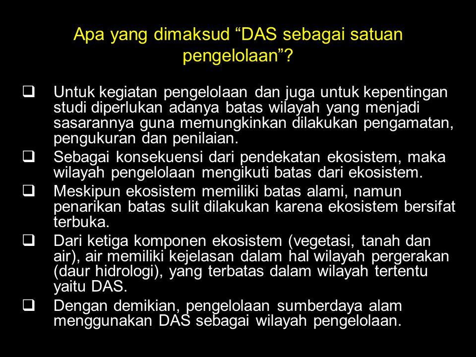 Apa yang dimaksud DAS sebagai satuan pengelolaan