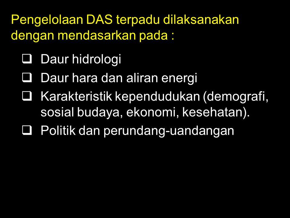Pengelolaan DAS terpadu dilaksanakan dengan mendasarkan pada :
