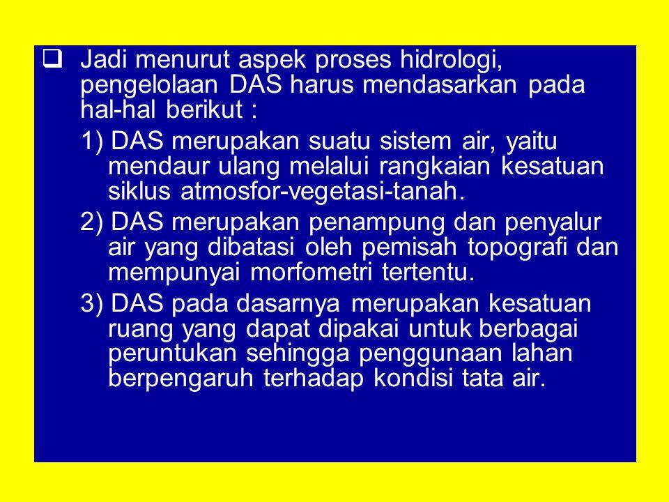 Jadi menurut aspek proses hidrologi, pengelolaan DAS harus mendasarkan pada hal-hal berikut :