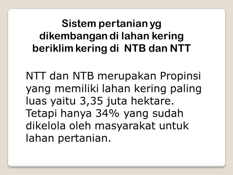 Sistem pertanian yg dikembangan di lahan kering beriklim kering di NTB dan NTT