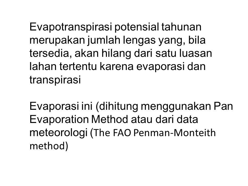 Evapotranspirasi potensial tahunan merupakan jumlah lengas yang, bila tersedia, akan hilang dari satu luasan lahan tertentu karena evaporasi dan transpirasi