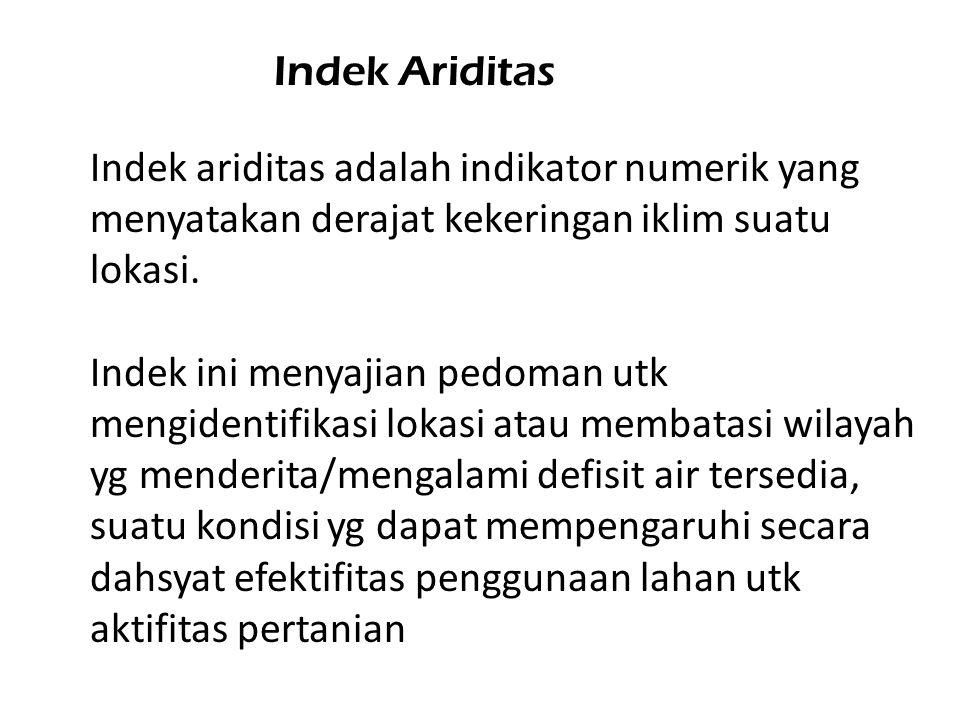 Indek Ariditas Indek ariditas adalah indikator numerik yang menyatakan derajat kekeringan iklim suatu lokasi.