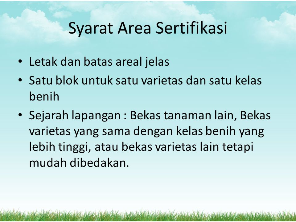 Syarat Area Sertifikasi
