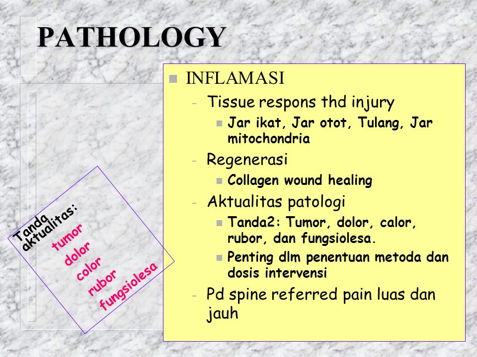 PATHOLOGY INFLAMASI Tissue respons thd injury Regenerasi
