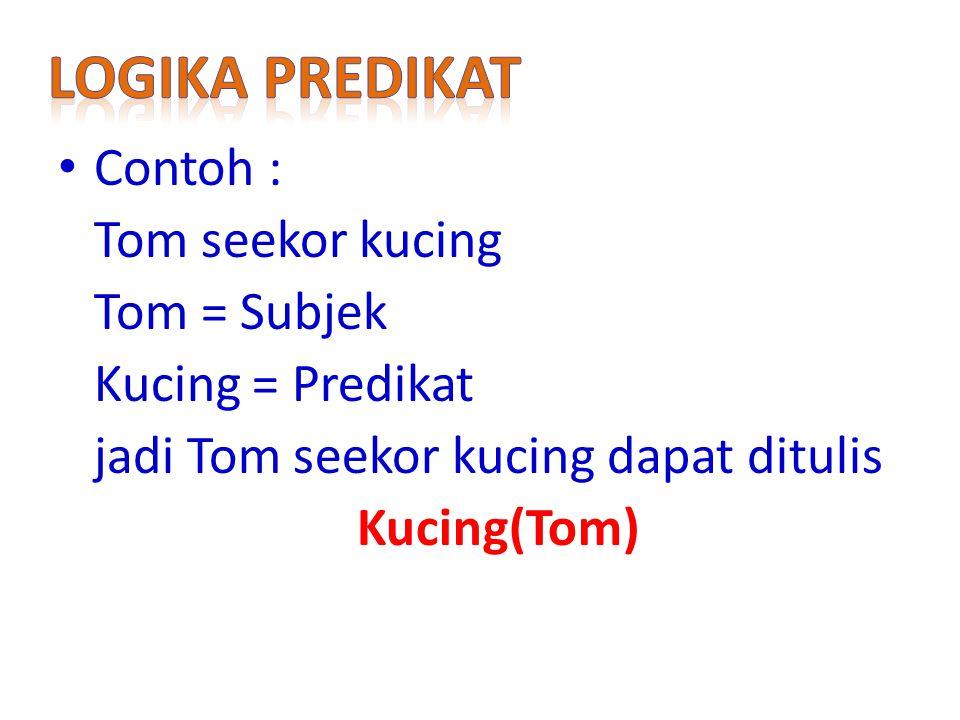 Logika predikat Contoh : Tom seekor kucing Tom = Subjek