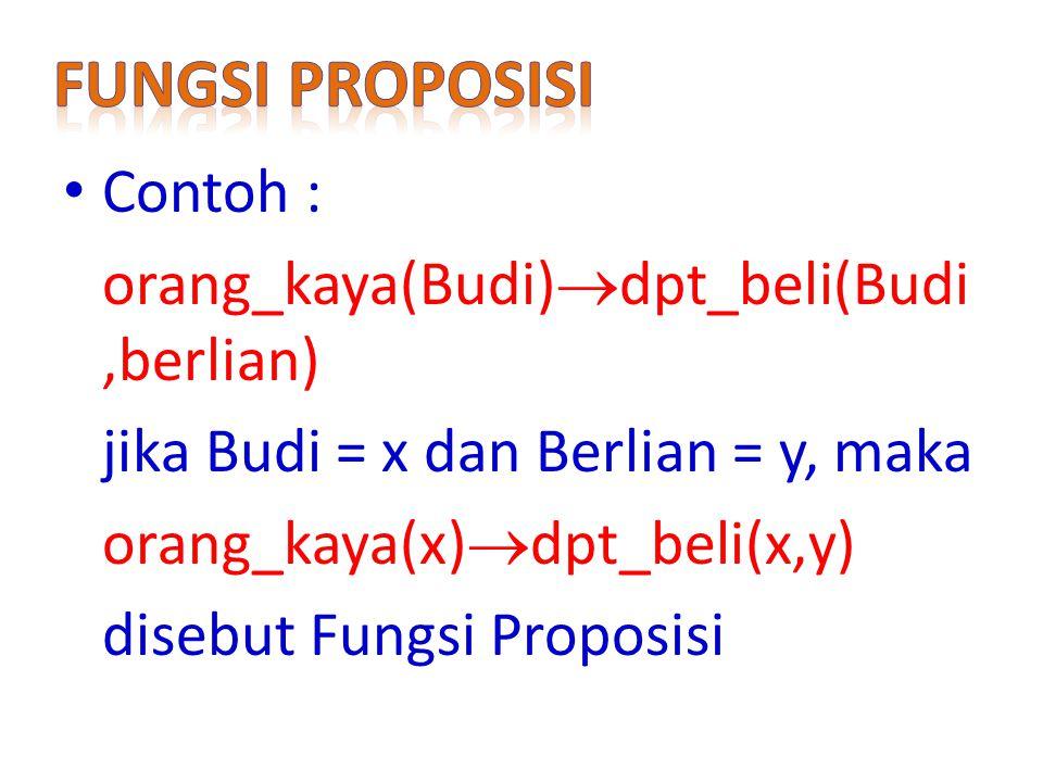 Fungsi proposisi Contoh : orang_kaya(Budi)dpt_beli(Budi,berlian)