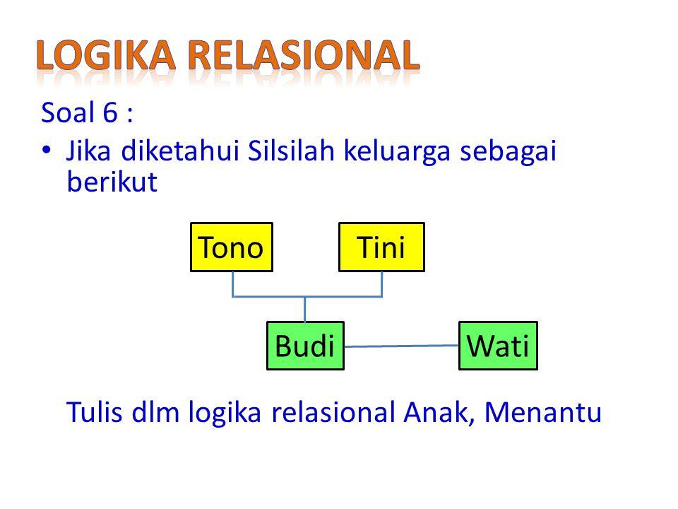 Logika relasional Tono Tini Budi Wati Soal 6 :