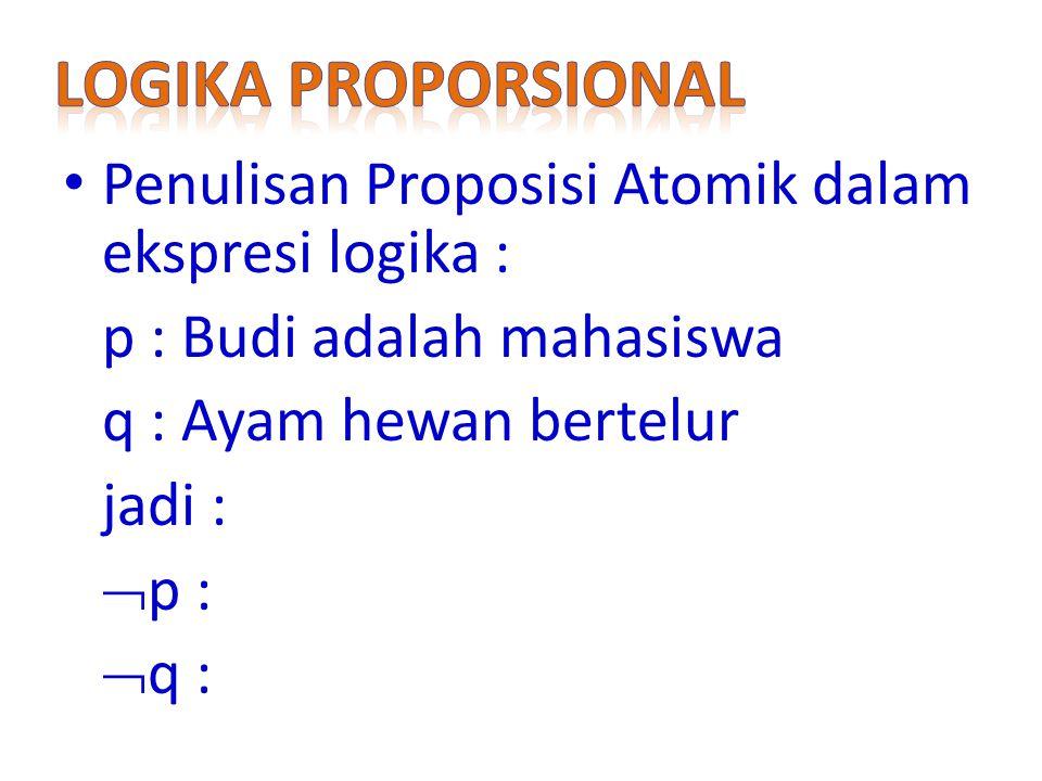 Logika Proporsional Penulisan Proposisi Atomik dalam ekspresi logika :