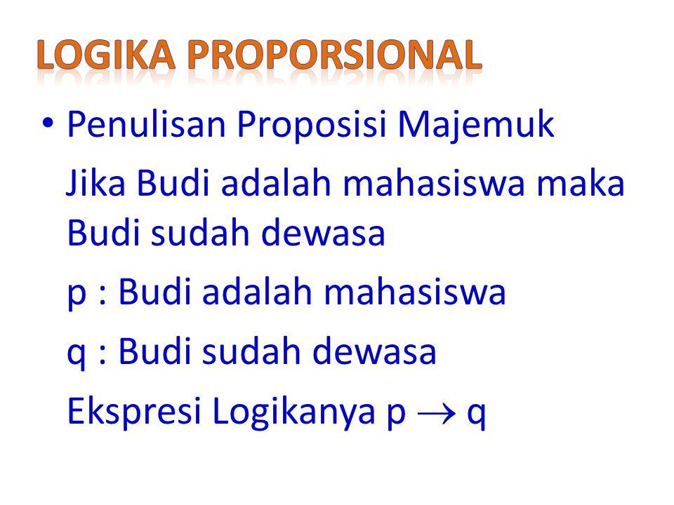 Logika Proporsional Penulisan Proposisi Majemuk