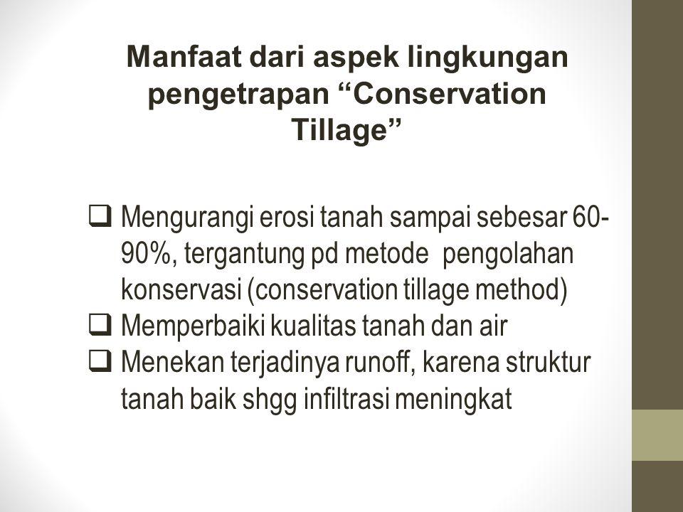 Manfaat dari aspek lingkungan pengetrapan Conservation Tillage