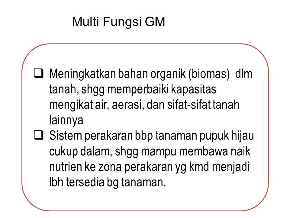 Multi Fungsi GM Meningkatkan bahan organik (biomas) dlm tanah, shgg memperbaiki kapasitas mengikat air, aerasi, dan sifat-sifat tanah lainnya.