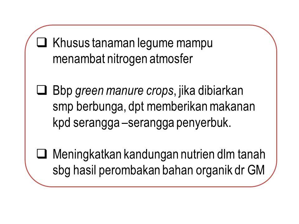 Khusus tanaman legume mampu menambat nitrogen atmosfer