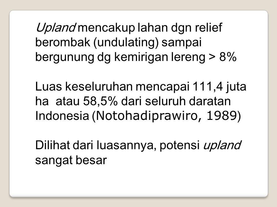 Upland mencakup lahan dgn relief berombak (undulating) sampai bergunung dg kemirigan lereng > 8%