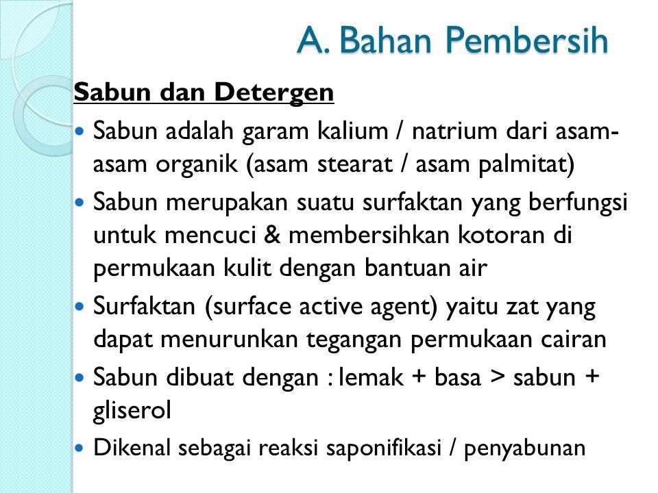 A. Bahan Pembersih Sabun dan Detergen