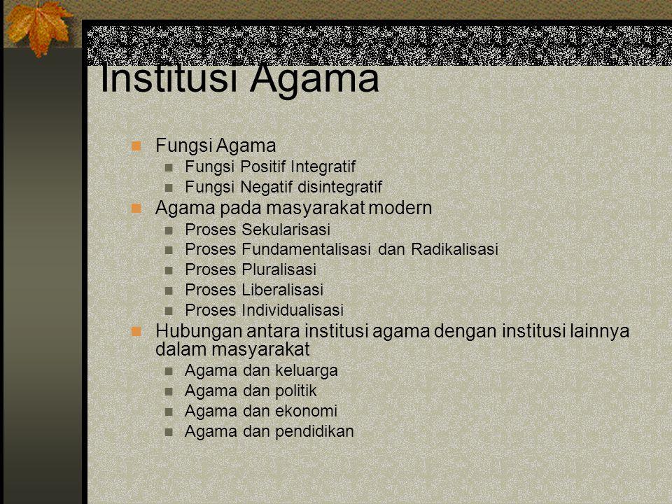 Institusi Agama Fungsi Agama Agama pada masyarakat modern