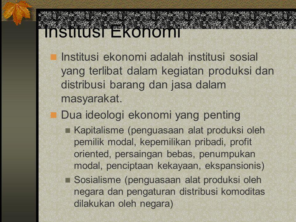 Institusi Ekonomi Institusi ekonomi adalah institusi sosial yang terlibat dalam kegiatan produksi dan distribusi barang dan jasa dalam masyarakat.