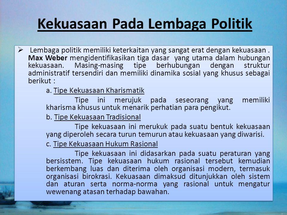 Kekuasaan Pada Lembaga Politik